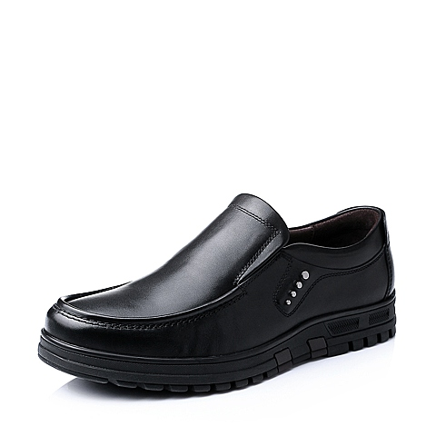 Senda/森达秋季男士黑色牛皮舒适休闲商务男皮鞋1CN09CM5
