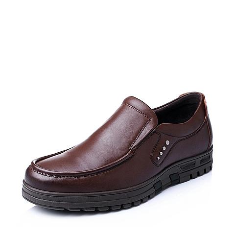 Senda/森达秋季男士棕色牛皮男舒适休闲商务皮鞋1CN09CM5