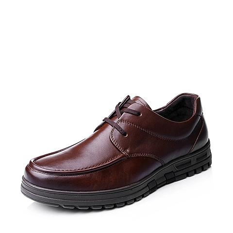 Senda/森达秋季男士棕色牛皮时尚舒适商务休闲男皮鞋1CN08CM5