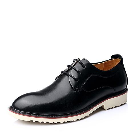Senda/森达秋季黑色时尚休闲牛皮男单鞋68881CM5