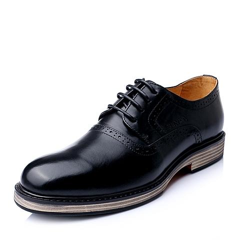 Senda/森达秋季黑色时尚舒适休闲牛皮男单鞋98881CM5