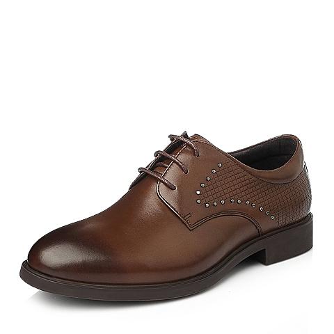 Senda/森达秋季男士棕色牛皮时尚商务正装男皮鞋107B1CM5