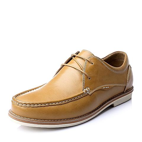 Senda/森达秋季土黄色时尚休闲舒适牛皮男单鞋A1537CM5