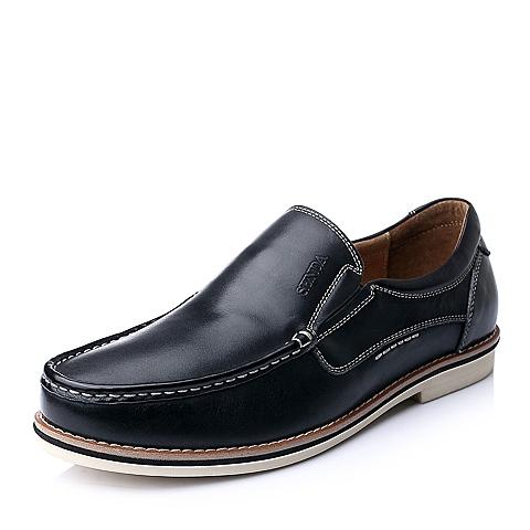 Senda/森达秋季黑色时尚休闲舒适牛皮男单鞋A1549CM5