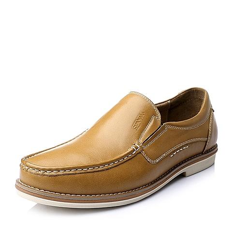 Senda/森达秋季土黄色时尚休闲舒适牛皮男单鞋A1549CM5