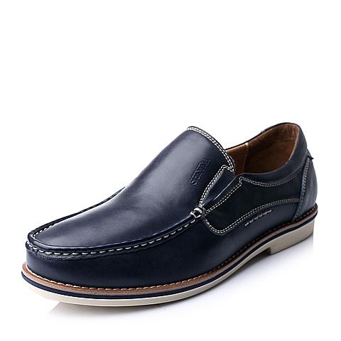 Senda/森达秋季蓝色时尚休闲舒适牛皮男单鞋A1549CM5