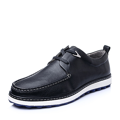 Senda/森达秋季黑色牛皮休闲活力质感舒适男皮鞋22180CM5