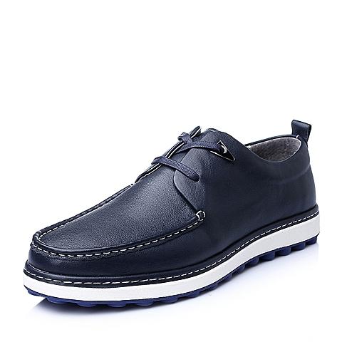Senda/森达秋季蓝色牛皮休闲活力质感舒适男皮鞋22180CM5