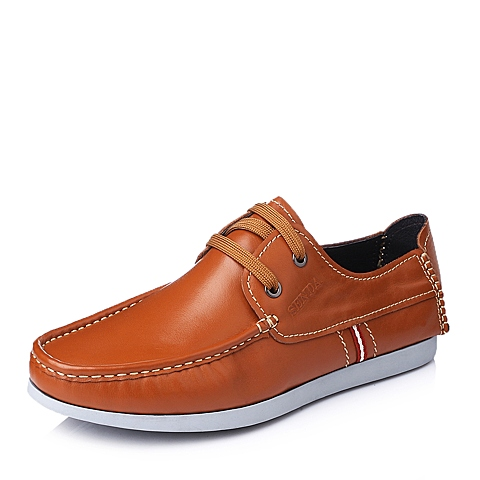 Senda/森达秋季黄色休闲舒适系带牛皮男单鞋W5822CM5