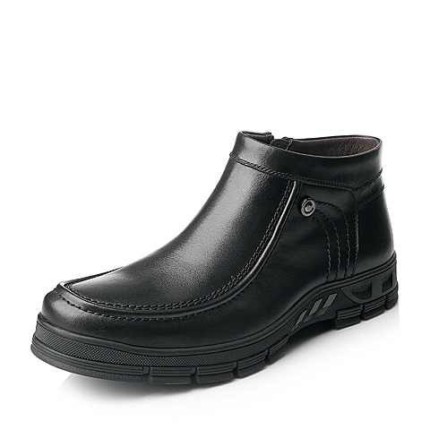 Senda/森达冬季男士黑色打蜡牛皮男皮靴1DU46DD5