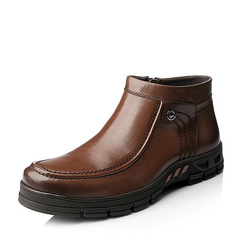 Senda/森达冬季男士棕色打蜡牛皮男皮靴1DU46DD5