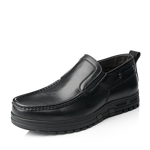 Senda/森达冬季黑色打蜡牛皮男靴1DK45DD5