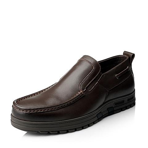 Senda/森达冬季棕色打蜡牛皮男皮靴1DK45DD5