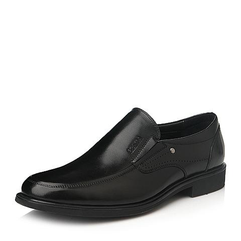 Senda/森达冬季黑色时尚舒适商务休闲牛皮男皮鞋M5211DM5
