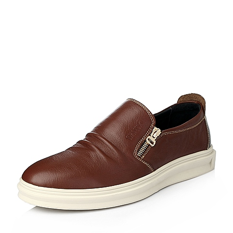 Senda/森达冬季棕色牛皮男单鞋Q2271DM5