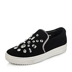 Senda/森达秋季专柜同款黑色弹布/灰膜羊皮女单鞋K3I05CM5