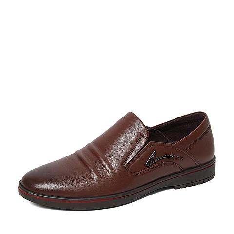 Senda/森达2016春季专柜同款棕色打蜡牛皮男单鞋IA101AM6 专柜1