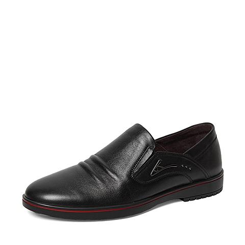 Senda/森达春季专柜同款黑色打蜡牛皮男单鞋IA101AM6 专柜1