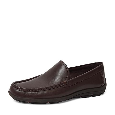 Senda/森达2016春季专柜同款棕色打蜡牛皮男单鞋IF101AM6 专柜1