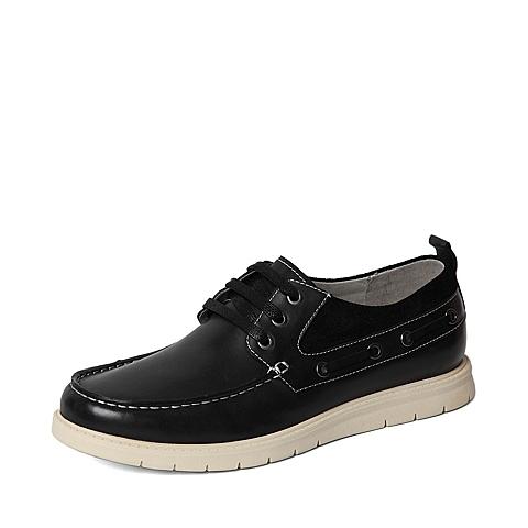 Senda/森达春专柜同款黑色牛皮男休闲鞋2QY01AM6 专柜1