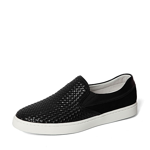 Senda/森达春季专柜同款黑色牛皮革男休闲鞋2DZ01AM6 专柜1