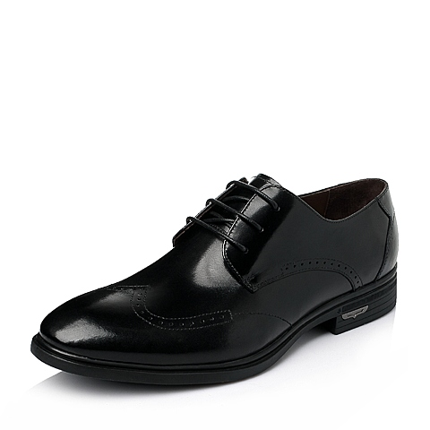 Senda/森达春季黑色平面牛皮商务正装男皮鞋1DX22AM6