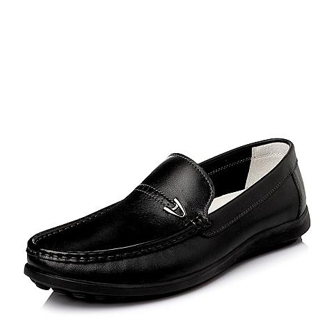 Senda/森达春季黑色水染牛皮时尚休闲男皮鞋1ET23AM6