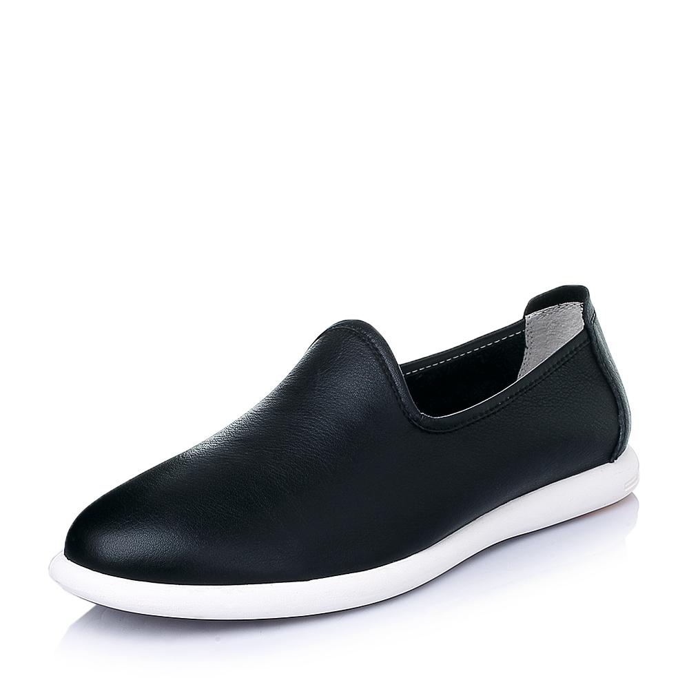 senda/森达2016春季黑色牛皮时尚休闲男皮鞋y3803am6