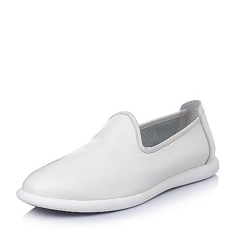 Senda/森达春季白色牛皮时尚休闲男皮鞋Y3803AM6