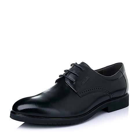 Senda/森达春季黑色打蜡牛皮商务正装男皮鞋A9202AM6