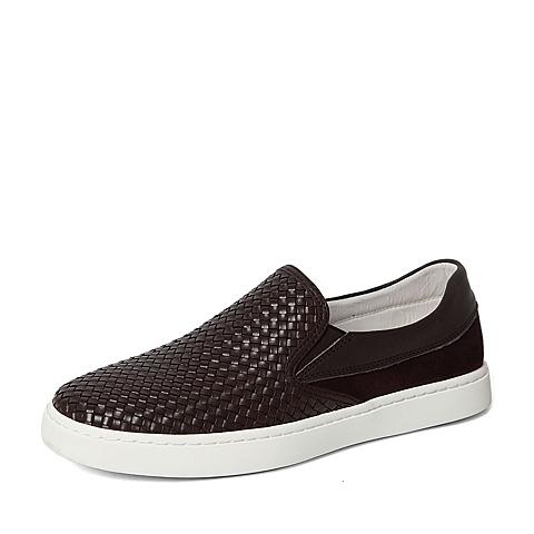 Senda/森达春季专柜同款棕色牛皮革男休闲鞋2DZ01AM6 专柜1