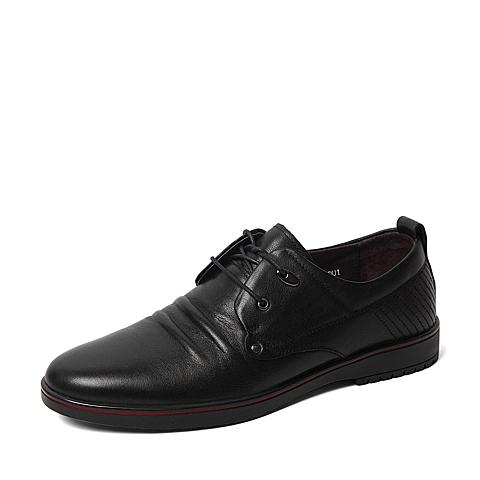 Senda/森达春季专柜同款黑色打蜡牛皮男皮鞋IA102AM6 专柜1
