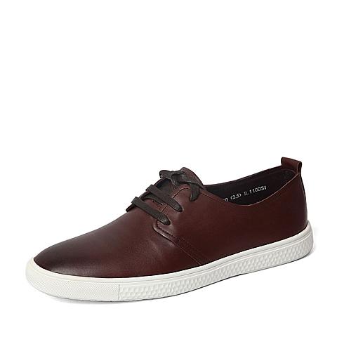 Senda/森达春季专柜同款棕色打蜡牛皮男单鞋IL110AM6 专柜1