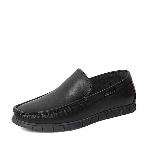 Senda/森达2016春季专柜同款黑色牛皮革男休闲鞋2DH03AM6 专柜1