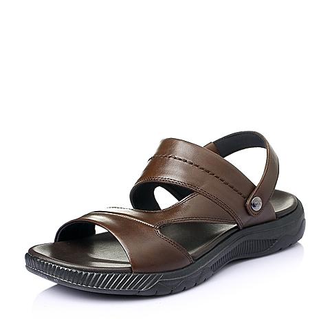 Senda/森达夏季棕色牛皮时尚休闲男沙滩凉鞋33591BL6