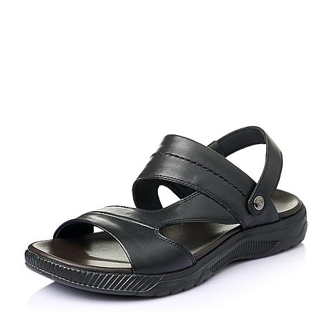 Senda/森达2016夏季黑色牛皮时尚休闲男沙滩凉鞋33591BL6