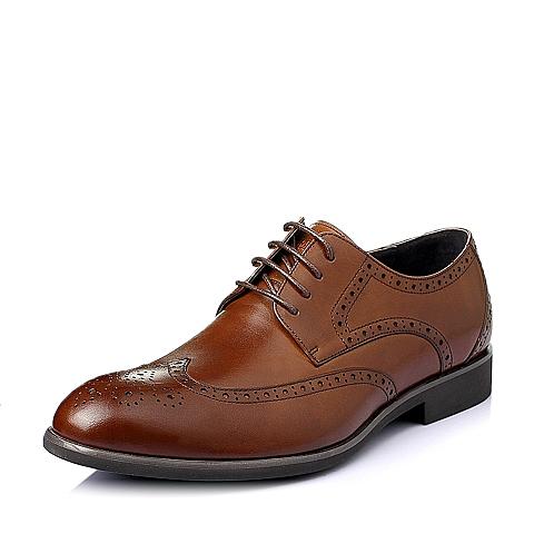 Senda/森达2016夏季棕色牛皮布洛克商务英伦风男皮鞋L3362BM6