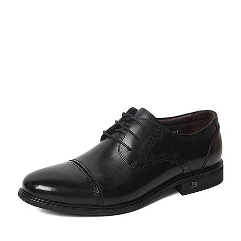 Senda/森达2016春专柜同款黑色平面牛皮男单鞋HO104AM6 专柜1