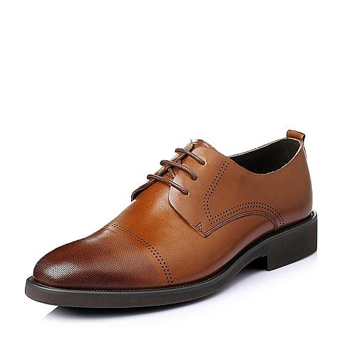 Senda/森达夏季棕色牛皮革男皮鞋DH110BM6