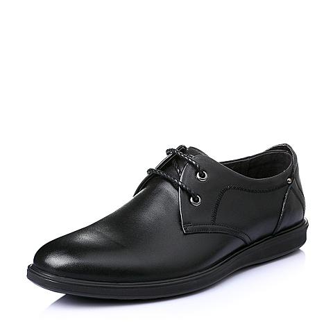 Senda/森达夏季黑色牛皮革男皮鞋A1060BM6