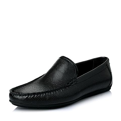 Senda/森达夏季黑色牛皮压花时尚休闲男皮鞋06972BM6