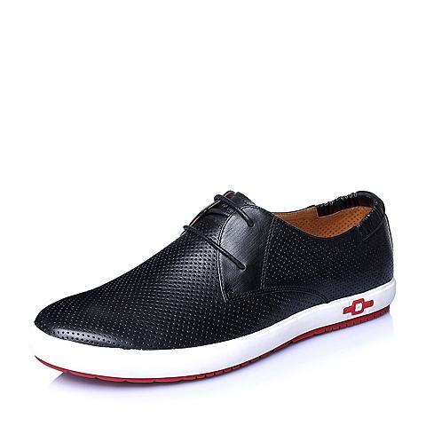 Senda/森达夏季黑色牛皮打孔透气休闲男皮鞋H9062BM6