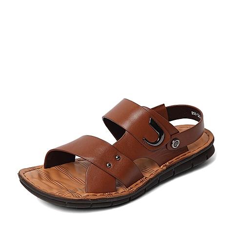 Senda/森达2016夏季专柜同款棕色打蜡牛皮/压纹牛皮男凉鞋IZ102BL6 专柜1