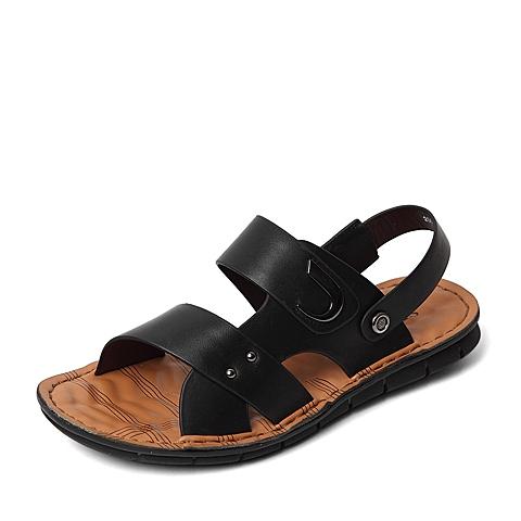 Senda/森达2016夏季专柜同款黑色打蜡牛皮/压纹牛皮男凉鞋IZ102BL6 专柜1