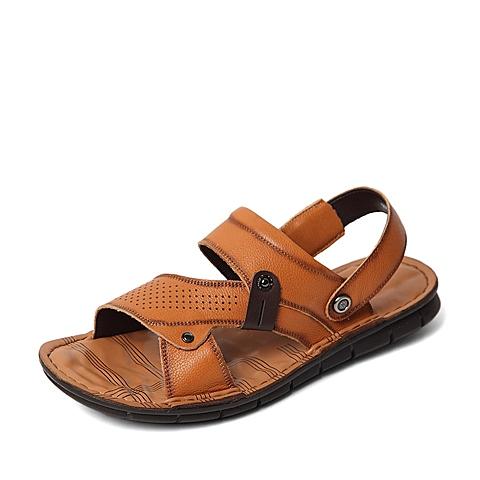 Senda/森达夏季专柜同款黄色摔纹牛皮/摔纹牛皮男凉鞋IZ103BL6 专柜1