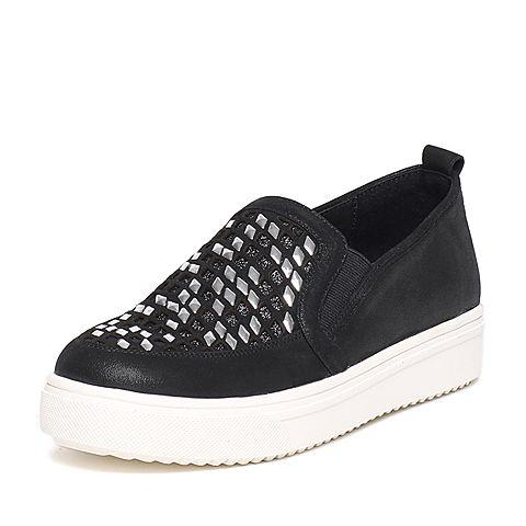 Senda/森达秋季专柜同款黑色女休闲鞋K3I20CM6