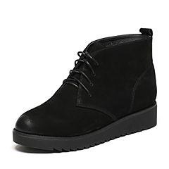 Senda/森达冬季专柜同款舒适休闲磨砂皮绑带女皮短靴3WD20DD6