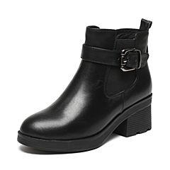 Senda/森达冬季专柜同款时髦大气女皮短靴粗跟3PH26DD6