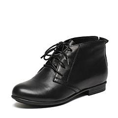 Senda/森达冬季专柜同款简约舒适绑带女皮短靴3PJ28DD6
