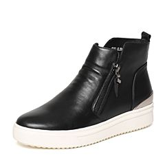 Senda/森达冬季专柜同款时尚潮流舒适女皮短靴圆头松糕底N3G48DD6